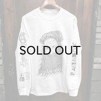 "{PARADOX} Front ver. ""Beard"" L/S T-SHIRTS / WHITE / (M-L)"