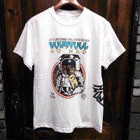 """{NO MAD NUMSKULL} """"Astronaut"""" HAND PAINT S/S T-SHIRTS / WHITE / M"""