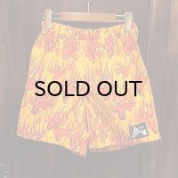{NO MAD NUMSKULL} ORIGINAL PATTERN SHORT PANTS / FIRE / YELLOW×RED