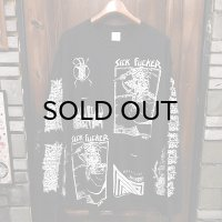 "{MOMENTARY PSYCHO ART} ""MULTI PRINT"" L/S T-SHIRTS / BLACK / (XL) / ""SICK FUCKER"""