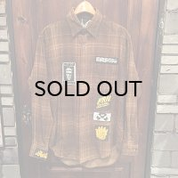 """""""USED"""" {NO MAD NUMSKULL} NMN Corduroy Check L/S SHIRTS / BROWN"""