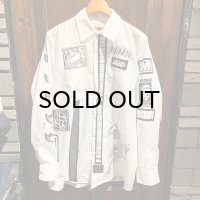 {NO MAD NUMSKULL} PATCH L/S WORK SHIRTS / WHITE / M