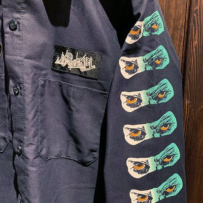 画像3: {NO MAD NUMSKULL} PATCH L/S WORK SHIRTS / NAVY / S