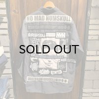 {NO MAD NUMSKULL} PATCH L/S WORK SHIRTS / CHARCOAL / L