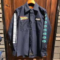{NO MAD NUMSKULL} PATCH L/S WORK SHIRTS / NAVY / S