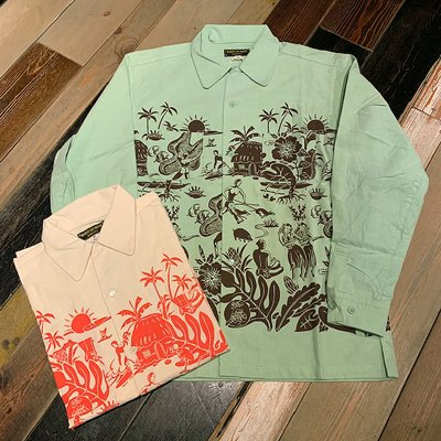 画像1: {NORTH NO NAME} HORIZONTAL HAWAIIAN NEL SHIRTS