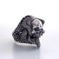 ※受注商品※ {GRYPHON} Gimmick ring & pendant Skull Rolled Snake