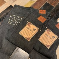 "{GANGSTERVILLE} THUG - DENIM ""IRON CROSS"" SLIM / RIGID/ BLACK"